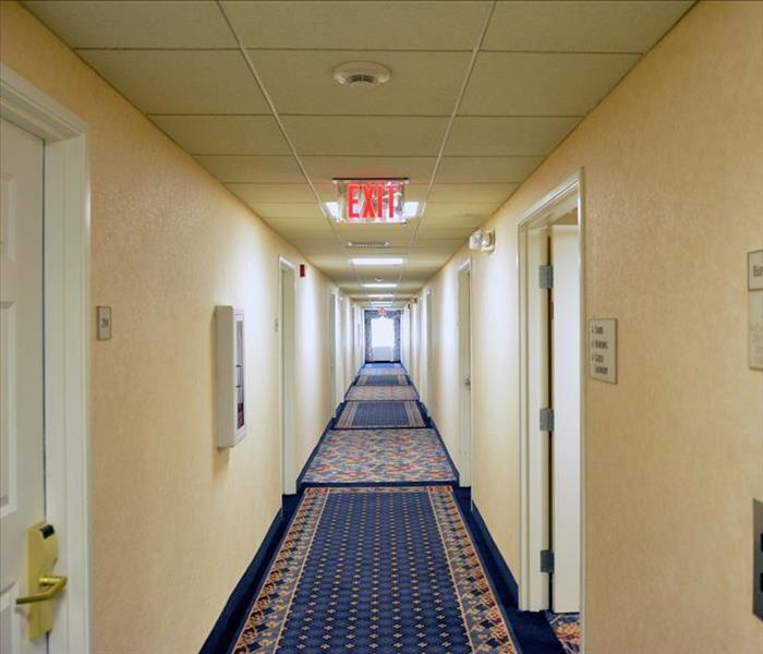 same corridor, clean, and dry and open for guest foot traffic